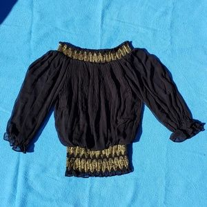 XOXO Black and Gold Greco Blouse